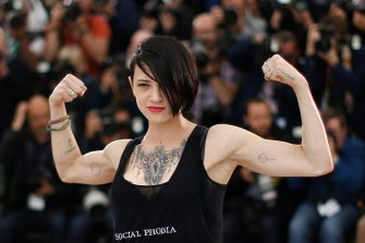 """Italian actress and director Asia Argento poses during a photocall for the film """"Incompresa (Misunderstood)"""" at the 67th edition of the Cannes Film Festival in Cannes, southern France, on May 22, 2014. AFP PHOTO / VALERY HACHE / AFP / VALERY HACHE        (Photo credit should read VALERY HACHE/AFP via Getty Images)"""