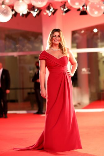 """VENICE, ITALY - SEPTEMBER 06: Vanessa Incontrada walks the red carpet ahead of the movie """"The World To Come"""" at the 77th Venice Film Festival on September 06, 2020 in Venice, Italy. (Photo by Franco Origlia/Getty Images)"""