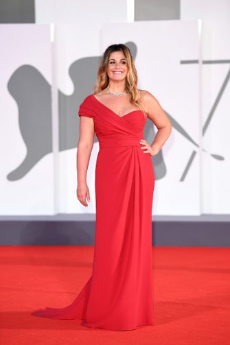 """VENICE, ITALY - SEPTEMBER 06: Vanessa Incontrada walks the red carpet ahead of the movie """"The World To Come"""" at the 77th Venice Film Festival on September 06, 2020 in Venice, Italy. (Photo by Daniele Venturelli/WireImage,)"""