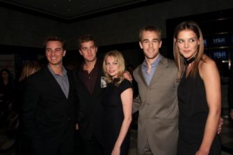 """Cast members Kerr Smith, Joshua Jackson, Michelle Williams, James Van Der Beek and Katie Holmes at a celebration for the 100th episode of """"Dawson's Creek"""" at the Museum of Television and Radio in New York City. Feb.19, 2002.  Photo: Evan Agostini/ImageDir"""