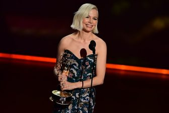 """Michelle Williams accepts the Outstanding Lead Actress in a Limited Series or Movie award for """"Fosse/Verdon"""" onstage during the 71st Emmy Awards at the Microsoft Theatre in Los Angeles on September 22, 2019. (Photo by Frederic J. BROWN / AFP)        (Photo credit should read FREDERIC J. BROWN/AFP via Getty Images)"""