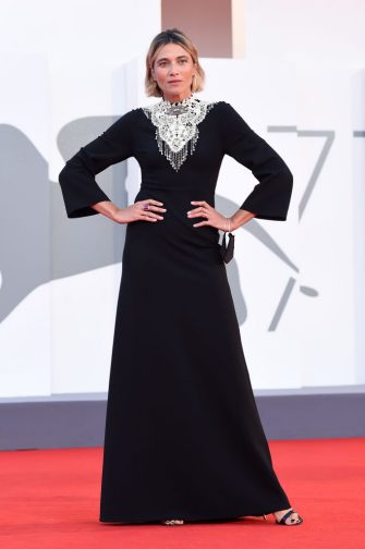 """VENICE, ITALY - SEPTEMBER 08:  Anna Foglietta walks the red carpet ahead of the movie """"Notturno"""" at the 77th Venice Film Festival on September 08, 2020 in Venice, Italy. (Photo by Stefania D'Alessandro/WireImage)"""