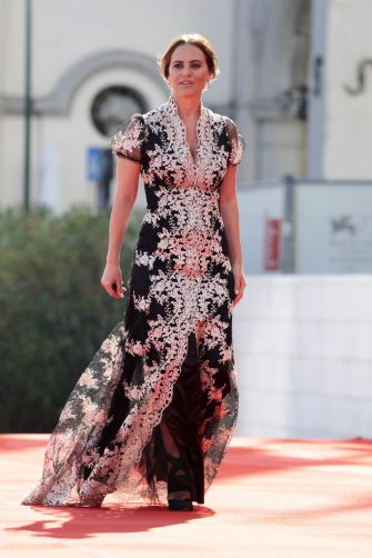 "VENICE, ITALY - SEPTEMBER 07: Melania Dalla Costa walks the red carpet ahead of the movie ""Dorogie Tovarischi!"" (Dear Comrades!) at the 77th Venice Film Festival on September 07, 2020 in Venice, Italy. (Photo by Vittorio Zunino Celotto/Getty Images)"