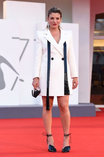 """VENICE, ITALY - SEPTEMBER 05:  Emma Marrone walks the red carpet ahead of the movie """"Miss Marx"""" at the 77th Venice Film Festival on September 05, 2020 in Venice, Italy. (Photo by Stefania D'Alessandro/WireImage,)"""