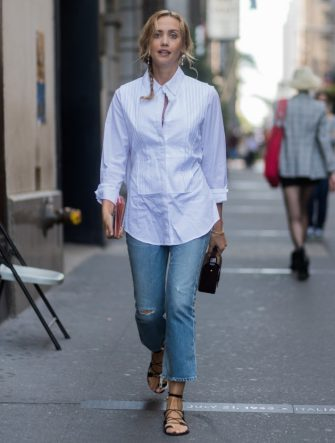 NEW YORK, NY - SEPTEMBER 10: Laurel Pantin wearing white button shirt, denim jeans seen in the streets of Manhattan outside Victoria Beckham during New York Fashion Week on September 10, 2017 in New York City. (Photo by Christian Vierig/Getty Images)