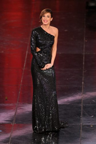 Elisabetta Canalis attends the 61th Sanremo Song Festival at the Ariston Theatre on February 16, 2011 in San Remo, Italy.