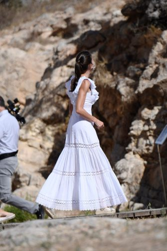IBIZA, SPAIN - AUGUST 17: Queen Letizia of Spain is seen visiting to the Monographic Museum and Necropolis of â  Puig des Molinsâ  , the best preserved necropolis in the Mediterranean, home of the goddess Tanit on August 17, 2020 in Ibiza, Spain. (Photo by Carlos Alvarez/Getty Images)