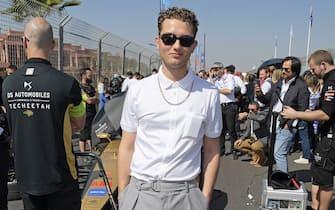 MARRAKESH, MOROCCO - FEBRUARY 29:  Rafferty Law, wearing Hugo Boss, attends The ABB FIA Formula E 2020 Marrakesh E-Prix on February 29, 2020 in Marrakesh, Morocco.  (Photo by David M. Benett/Dave Benett/Getty Images for Formula E)