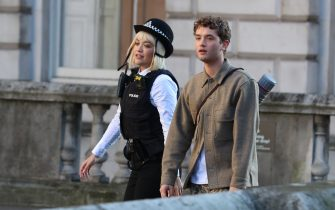 LONDON, ENGLAND - DECEMBER 04: Rita Ora and Rafferty Law are seen on the set of new movie 'Twist' at Somerset House on December 04, 2019 in London, England. (Photo by Neil Mockford/GC Images)