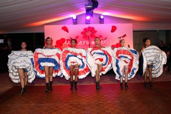 PARIS, FRANCE - SEPTEMBER 17:  Illustration view of the 'French Cancan' during the Kenzo Takada's 50 Years of Life in Paris Celebration at Restaurant Le Pre Catelan on September 17, 2015 in Paris, France.  (Photo by Rindoff Petroff/Castel/Getty Images)