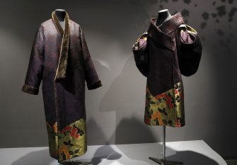 """Kimonos created by Japanese fashion designer Kenzo Takada  are on display during the inauguration of the exhibition """"Kimono - Au bonheur des dames"""" at the Guimet museum in Paris, on February 21, 2017.   The exhibition will run from February 22 to May 22, 2017. / AFP / PATRICK KOVARIK / RESTRICTED TO EDITORIAL USE - MANDATORY MENTION OF THE ARTIST UPON PUBLICATION - TO ILLUSTRATE THE EVENT AS SPECIFIED IN THE CAPTION        (Photo credit should read PATRICK KOVARIK/AFP via Getty Images)"""