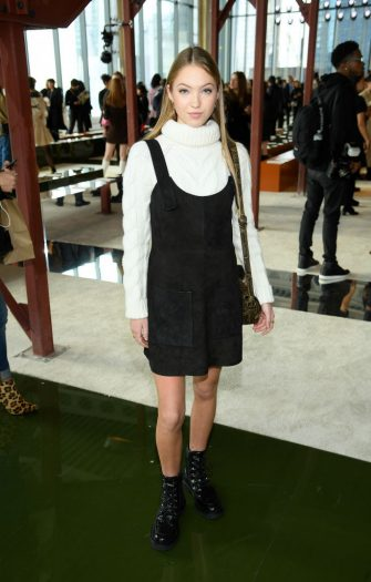 NEW YORK, NEW YORK - FEBRUARY 08: Lila Grace Moss Hack attends the Longchamp Fall/Winter 2020 Runway Show at Hudson Commons on February 08, 2020 in New York City. (Photo by Dimitrios Kambouris/Getty Images for Longchamp )