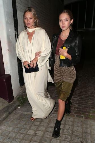 LONDON, ENGLAND - SEPTEMBER 11:  Kate Moss and Lila Moss seen celebrating designer Kim Jones birthday party at Laylow on September 11, 2020 in London, England. (Photo by Ricky Vigil/GC Images)