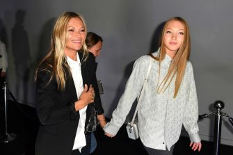 PARIS, FRANCE - JANUARY 17: Kate Moss and Lila Grace Moss Hack are seen arriving at Dior fashion show during Paris Fashion Week - Menswear F/W 2020-2021 on January 17, 2020 in Paris, France. (Photo by Jacopo Raule/GC Images )