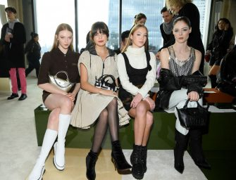 NEW YORK, NEW YORK - FEBRUARY 08: (L-R) Larsen Thompson, Bailee Madison, Lila Grace Moss Hack, and Coco Rocha attend the Longchamp Fall/Winter 2020 Runway Show at Hudson Commons on February 08, 2020 in New York City. (Photo by Dimitrios Kambouris/Getty Images for Longchamp )
