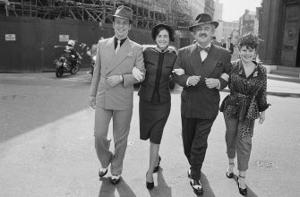 British actors Ian Charleson (1949 - 1990), Bernard Cribbins and Imelda Staunton, 3rd April 1984. They are starring in the musical 'Guys and Dolls' at the National Theatre in London. (Photo by Ken Towner/Express/Getty Images)