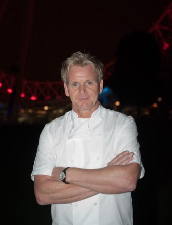 LONDON, ENGLAND - OCTOBER 09:  Chef Gordon Ramsay poses in front of the London Eye on October 9, 2009 in London, England. Gordon Ramsay took the challange of cooking for guest on the London Eye as part of the inaugural London Restaurant Festival  (Photo by Marco Secchi/Getty Images)