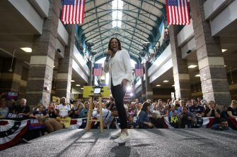 """DAVENPORT, IOWA - AUGUST 12: Democratic presidential candidate U.S. Sen. Kamala Harris (D-CA) speaks during a """"For the People"""" rally on August 12, 2019 in Davenport, Iowa. Kamala Harris finished her five-day river-to-river bus tour across Iowa with a """"For the People"""" rally. (Photo by Justin Sullivan/Getty Images)"""