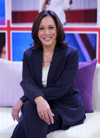 """MIAMI, FL - NOVEMBER 13:  United States Senator from California and Democratic Presidential Candidate Kamala Harris is seen on the set of """"Un Nuevo Dia"""" at Telemundo Center on November 13, 2019 in Miami, Florida.  (Photo by Alexander Tamargo/Getty Images)"""