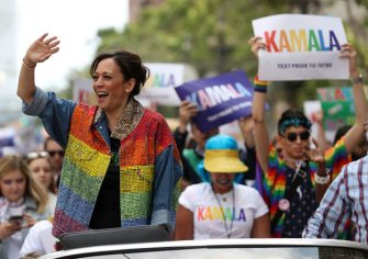 SAN FRANCISCO, CALIFORNIA - JUNE 30: Democratic presidential candidate U.S. Sen. Kamala Harris (D-CA) waves to the crowd as she rides in a car during the SF Pride Parade on June 30, 2019 in San Francisco, California. Sen. Harris spent the weekend in the San Francisco Bay Area where she attended a fundraiser and the annual SF Pride Parade.  (Photo by Justin Sullivan/Getty Images)