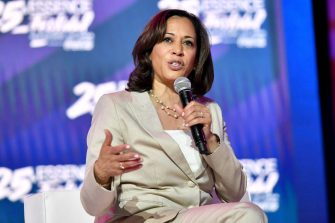 NEW ORLEANS, LOUISIANA - JULY 06: Kamala Harris speaks on stage at 2019 ESSENCE Festival Presented By Coca-Cola at Ernest N. Morial Convention Center on July 06, 2019 in New Orleans, Louisiana. (Photo by Paras Griffin/Getty Images for ESSENCE)