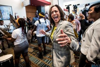 COLUMBIA, SC - JUNE 22: Democratic presidential candidate Sen. Kamala Harris (D-CA) dances with a marching band upon arrival at the 2019 South Carolina Democratic Party State Convention on June 22, 2019 in Columbia, South Carolina. Democratic presidential hopefuls are converging on South Carolina this weekend for a host of events where the candidates can directly address an important voting bloc in the Democratic primary. (Photo by Sean Rayford/Getty Images)