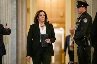 WASHINGTON, DC - JANUARY 24: Senator Kamala Harris (D-CA) heads back to the floor of the Senate during a recess in the Senate impeachment trial of President Donald Trump on January 24, 2020 in Washington, DC. Democratic House managers conclude their opening arguments on Friday as the Senate impeachment trial of President Donald Trump continues into its fourth day. (Photo by Samuel Corum/Getty Images)