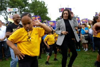 DES MOINES, IA - SEPTEMBER 21: Democratic presidential candidate, U.S. Sen. Kamala Harris (D-CA) dances as she attends the Democratic Polk County Steak Fry on September 21, 2019 in Des Moines, Iowa. Seventeen presidential candidates attended the Polk County Steak Fry. (Photo by Joshua Lott/Getty Images)