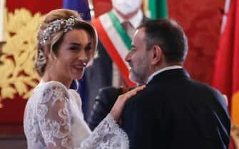 Un momento del matrimonio civile tra Silvia Salis e Fausto Brizzi in Campidoglio, Roma 14 novembre 2020. ANSA / FABIO FRUSTACI