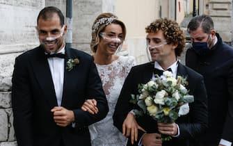 Silvia Salis arriva con i suoi testimoni per il matrimonio con Fausto Brizzi in Campidoglio, Roma 14 novembre 2020. ANSA / FABIO FRUSTACI