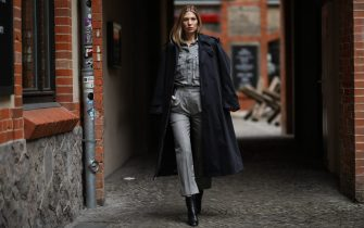 BERLIN, GERMANY - JANUARY 26: Sarah Brandner wearing Max Mara look, Jimmy Choo boots, Swarovski earring and Paul Smith coat on January 26, 2020 in Berlin, Germany. (Photo by Jeremy Moeller/Getty Images)