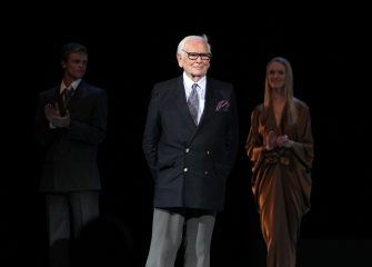 epa02770585 French designer Pierre Cardin (C) onstage during his fashion show in Moscow's Kremlin, Russia, 07 June 2011. Cardin arrived on 06 June in Moscow and presented his new collection at the Kremlin.  EPA/MAXIM SHIPENKOV