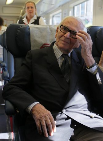 epa02769164 French couturier Pierre Cardin looks on in a train from Sheremetievo airport to Moscow, Russia, 06 June 2011. Cardin arrived in Moscow for his fashion show in the Kremlin and to visit Russian students of Moscow University of Design and Technology.  EPA/SERGEI CHIRIKOV