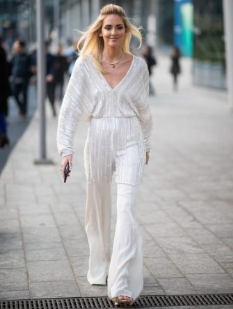 MILAN, ITALY - FEBRUARY 20: Chiara Ferragni is seen weairng white striped overall outside Alberta Ferretti on Day 1 Milan Fashion Week Autumn/Winter 2019/20 on February 20, 2019 in Milan, Italy. (Photo by Christian Vierig/Getty Images)