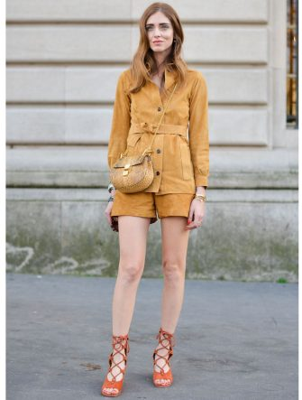 PARIS, FRANCE - MARCH 08: Chiara Ferragni poses wearing a Chloe total look on Day 6 of Paris Fashion Week Womenswear FW15 on March 8, 2015 in Paris, France.  (Photo by Vanni Bassetti/Getty Images)