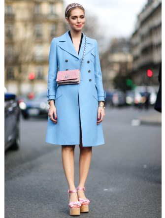 PARIS, FRANCE - MARCH 07:  Chiara Ferragni wears a blue coat, and a pink bag, outside the Miu Miu show, during Paris Fashion Week Womenswear Fall/Winter 2017/2018, on March 7, 2017 in Paris, France.  (Photo by Edward Berthelot/Getty Images)