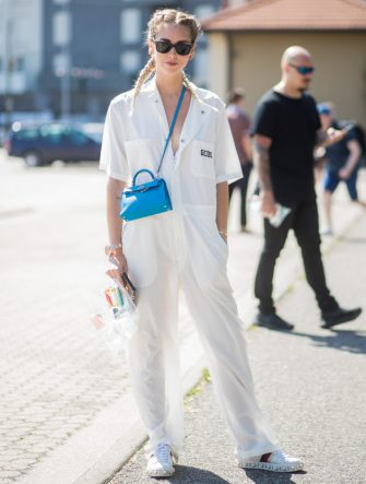 MILAN, ITALY - JUNE 19: Chiara Ferragni wearing a white jumpsuit is seen outside GCDS during Milan Men's Fashion Week Spring/Summer 2018 on June 19, 2017 in Milan, Italy. (Photo by Christian Vierig/Getty Images)