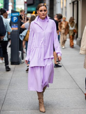 NEW YORK, NEW YORK - SEPTEMBER 08: Oliva Palermo is seen wearing pink dress outside Tibi during New York Fashion Week September 2019 on September 08, 2019 in New York City. (Photo by Christian Vierig/Getty Images)