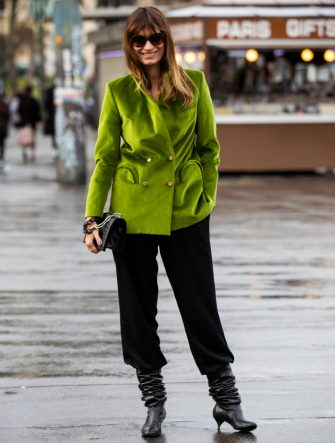 PARIS, FRANCE - MARCH 02: Caroline de Maigret, wearing a green velvet blazer, black pants, black boots and black bag, is seen outside Haider Ackermann on Day 6 Paris Fashion Week Autumn/Winter 2019/20 on March 2, 2019 in Paris, France. (Photo by Claudio Lavenia/Getty Images)
