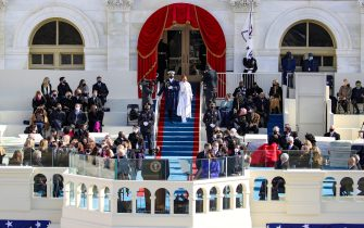 WASHINGTON, DC - JANUARY 20: Jennifer Lopez arrives to sing during the inauguration of U.S. President-elect Joe Biden on the West Front of the U.S. Capitol on January 20, 2021 in Washington, DC.  During today's inauguration ceremony Joe Biden becomes the 46th president of the United States. (Photo by Rob Carr/Getty Images)