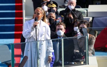 WASHINGTON, DC - JANUARY 20: Jennifer Lopez sings during the inauguration of U.S. President-elect Joe Biden on the West Front of the U.S. Capitol on January 20, 2021 in Washington, DC.  During today's inauguration ceremony Joe Biden becomes the 46th president of the United States. (Photo by Rob Carr/Getty Images)