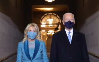 WASHINGTON, DC - JANUARY 20: U.S. President-elect Joe Biden and Jill Biden arrive at his Biden's inauguration on the West Front of the U.S. Capitol on January 20, 2021 in Washington, DC.  During today's inauguration ceremony Joe Biden becomes the 46th president of the United States. (Photo by Win McNamee/Getty Images)