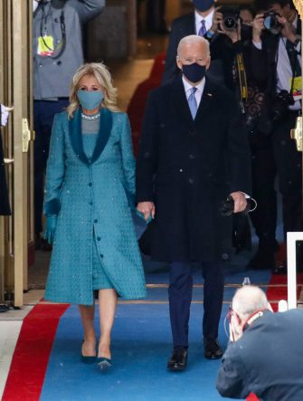 WASHINGTON, DC - JANUARY 20: U.S. President-elect Joe Biden and Jill Biden arrive at his Biden's inauguration on the West Front of the U.S. Capitol on January 20, 2021 in Washington, DC.  During today's inauguration ceremony Joe Biden becomes the 46th president of the United States. (Photo by Rob Carr/Getty Images)