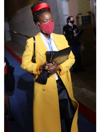 WASHINGTON, DC - JANUARY 20: National youth poet laureate Amanda Gorman arrives at the inauguration of U.S. President-elect Joe Biden on the West Front of the U.S. Capitol on January 20, 2021 in Washington, DC.  During today's inauguration ceremony Joe Biden becomes the 46th president of the United States. (Photo by Win McNamee/Getty Images)