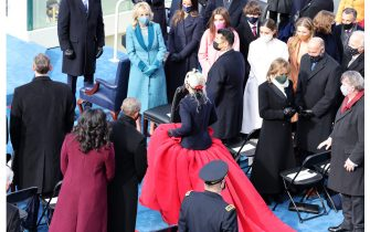 WASHINGTON, DC - JANUARY 20: Lady Gaga arrives to sing the National Anthem at the inauguration of U.S. President-elect Joe Biden on the West Front of the U.S. Capitol on January 20, 2021 in Washington, DC.  During today's inauguration ceremony Joe Biden becomes the 46th president of the United States. (Photo by Tasos Katopodis/Getty Images)