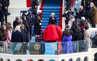 WASHINGTON, DC - JANUARY 20: Lady Gaga arrives to sing the National Anthem at the inauguration of U.S. President-elect Joe Biden on the West Front of the U.S. Capitol on January 20, 2021 in Washington, DC.  During today's inauguration ceremony Joe Biden becomes the 46th president of the United States. (Photo by Rob Carr/Getty Images)