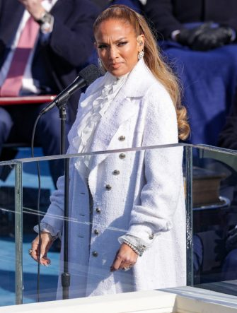 WASHINGTON, DC - JANUARY 20: Jennifer Lopez looks on during the inauguration of U.S. President-elect Joe Biden on the West Front of the U.S. Capitol on January 20, 2021 in Washington, DC.  During today's inauguration ceremony Joe Biden becomes the 46th president of the United States. (Photo by Alex Wong/Getty Images)