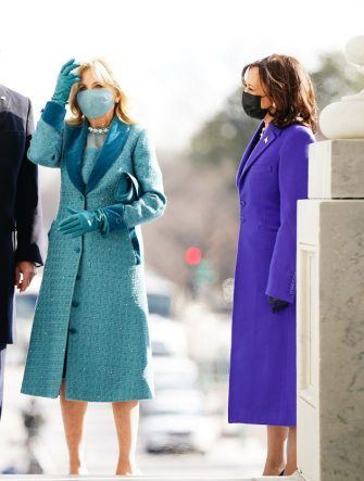 President-elect Joe Biden (L) and  Jill Biden (C) with Vice President-elect Kamala Harris (R) arrive at the East Front of the US Capitol for his inauguration ceremony to be the 46th President of the United States in Washington, DC, on January 20, 2021. (Photo by JIM LO SCALZO / POOL / AFP) (Photo by JIM LO SCALZO/POOL/AFP via Getty Images)