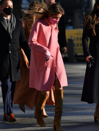 WASHINGTON, DC - JANUARY 20: Natalie Biden, a granddaughter of U.S. President Joe Biden, gathers with family before walking along the abbreviated parade route after Biden's inauguration on January 20, 2021 in Washington, DC. Biden became the 46th president of the United States earlier today during the ceremony at the U.S. Capitol. (Photo by Mark Makela/Getty Images)