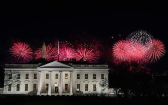 Fireworks are seen above the White House at the end of the Inauguration day for US President Joe Biden in Washington, DC, on January 20, 2021, . (Photo by Patrick T. FALLON / AFP) (Photo by PATRICK T. FALLON/AFP via Getty Images)